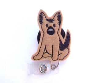 Badge Holder Retractable - German Shepherd K-9 badge reel - dog puppy tan felt with black - nurse badge reel veterinarian teacher medical