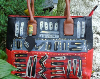 Hand Painted Tribal Immunity Red and Black Two-Tone Tote Handbag