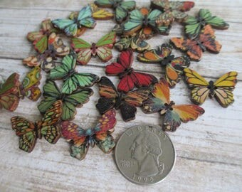 BUTTERFLY Butterflies lot of 25 Wood Wooden Printed Art Assorted Designs 1 inch