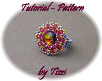 Beading tutorial, beading pattern for beaded ring Edvina with rivoli and bicones, PDF instructions for beaded ring. Step by step pattern