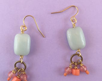 Rectangular Teal Amazonite Earrings With Coral and Rose Quartz