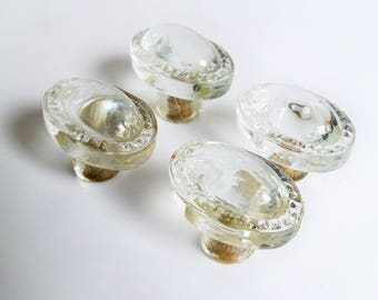 Set of Four Vintage Clear Glass Drawer Pulls, Cabinet Knobs - FREE USA SHIPPING