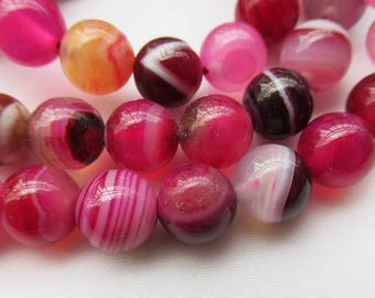 Banded Agate Beads 8mm Round Smooth Dyed Beads in Rose g026