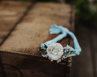 Blue and cream stretch tie back Headband