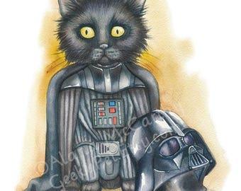 "SALE Darth Vader Kitten - Watercolor 8x10"" print Darth Kitten unmasked!"
