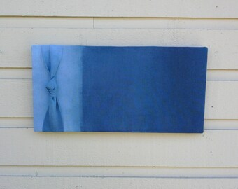 Ombre Linen Pinboard, Nautical Beach styled Bulletin Board with hand dyed blue ombre design for your cottage or cabin