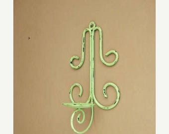 Because of The Brave Rustic Metal Wall Sconce in Green Apple / Shabby Garden Candle Sconce / Cottage Chic Candle Holder