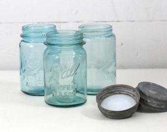 3 Blue ball jars  aqua ball jar