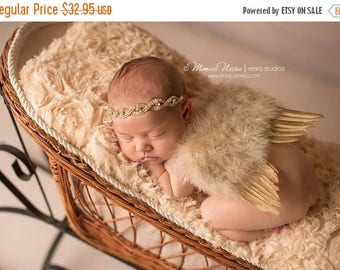 ON SALE NEWBORN Feather Wings, gold wings and rhinestone headband set, Angel Wings, newborn photography prop, baby wings, fairy wings