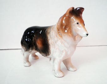 Vintage Shetland Collie Dog Figure Glazed Ceramic Japan Clover Mark 1950's Lassie