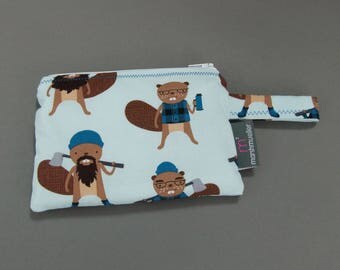 Hipster Beavers Reusable Snack Bag, Litterless Lunch, Zippered Reusable Snack Bag, Back to School, Hipster Lunch Bag, Gifts Under 20