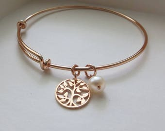mother of the bride gift, rose gold tree of life bangle bracelet, gift for maid of honor, bridesmaid, mother in law, mom