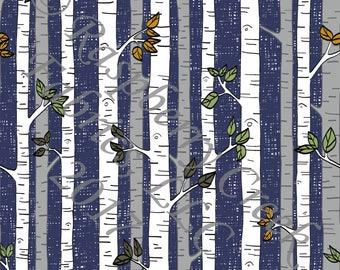 Navy Grey Green and Rust Vertical Stripe Birch Tree 4 Way Stretch Jersey Knit Fabric, Woodland By Ella Randall for Club Fabrics