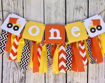 Construction Birthday Banner Fabric First 1st Boy Highchair banner One Dump Truck Smash Cake Yellow and Orange Construction Boys  Photo Prop