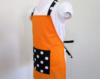 Childrens Apron - Fun Colors-Solid Orange with retro cool Black and White Polka Dots, great for creating, cooking, painting, kids apron