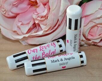 Bridal Shower Lip Balm Label Favors, Wedding Favors, Bachelorette Party, Engagement Party Favors, Our Love is the Balm - Set of 24 Labels