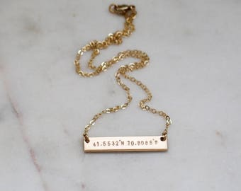 Coordinates THICK Gold Bar Necklace Double Sided with Custom Personalized Latitude and Longitude Hand Stamped by Betsy Farmer Designs