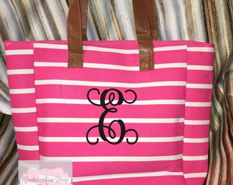 Monogrammed Canvas Tote, Canvas Bag, Canvas tote, Personalized tote, Tote Bag, Boat Tote, Diaper bag, Striped tote