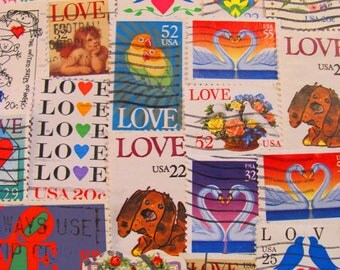Rainbow of Love 50 Vintage Modern Mixture Valentines Postage Stamps Love Crush Romance Mothers Day Wedding Anniversary Kiss Luv US Philately