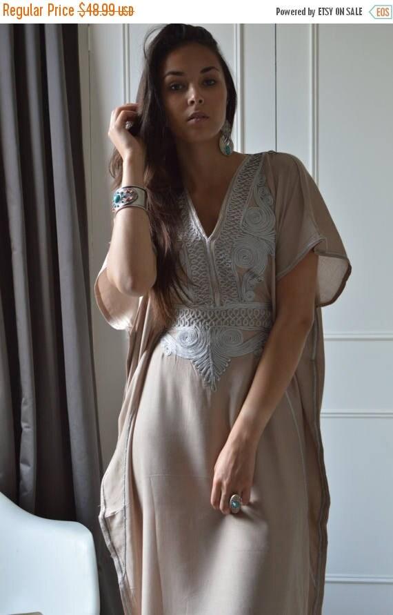 25% OFF Autumn Sale// Beige Caftan Resortwear with Grey Embroidery -loungewear,resortwear, great for  Birthdays, Honeymoon gifts