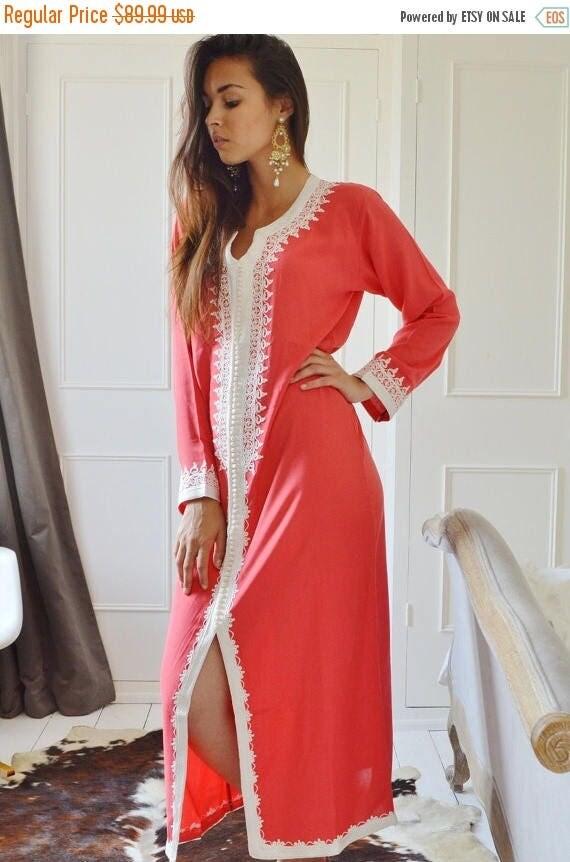 Autumn Dress 20% OFF/ Summer Salmon Pink Caftan Maxi Dress- Karima Style-loungewear,resortwear,resortwear, Birthdays,Honeymoon or Maternity
