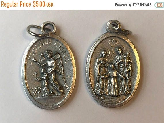 CLOSING SALE 5 Patron Saint Medal Findings, Guardian Angel Holy Family, Die Cast Silverplate, Silver Color, Oxidized Metal, Made in Italy, C
