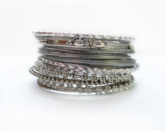 15 Skinny Metal Stacking Bangle Bracelets