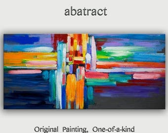 "sale Original Abstract Painting Wall Art Oil Painting 48""x24"" Canvas  Original Modern Home Deco, Wall Hanging, Surreal Road by Tim Lam"