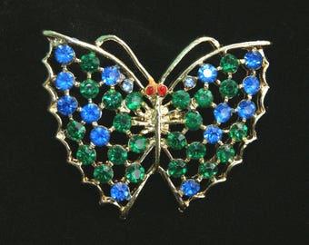 "Vintage Vtg Multi Color Rhinestone Butterfly Pin Brooch - 2"" H x 2 1/4"" W"