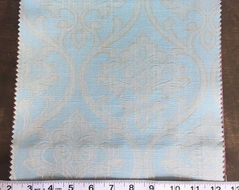 Custom Curtains Valance Roman Shade Shower Curtains in Light Aqua Damask Pattern Fabric