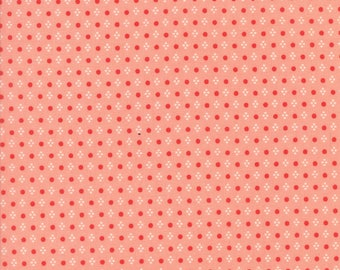 Handmade Spots Coral by Bonnie and Camille for Moda, 1/2 yard cotton fabric