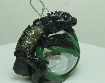 Indonesian Giant Sailfin Dragon Christmas ornament Mini glass ball Polymer clay