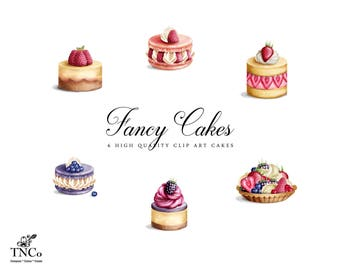 Watercolor Cake Clip art - Cake Clipart - Cake Graphic - Commercial use Clipart - Baked Goods - Birthday Clipart - Invitation Graphics -