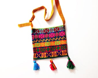 Vtg handwoven bag, handwoven purse, vtg woven bag, vtg woven purse, woven cross body bag, multi-colored bag, boho bag, hippie bag