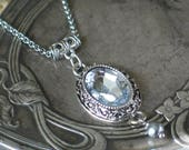 Sparkling Georgian Silver Gray Pendant Necklace, 18th century style Jewelry
