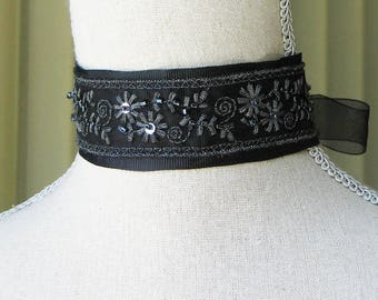 Black and Silver Beaded Choker, Georgian Choker, Romantic Jewelry, Outlander Inspired