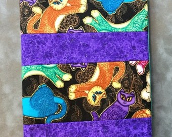 Colorful Cat print  Quilted Refillable Journal Notebook