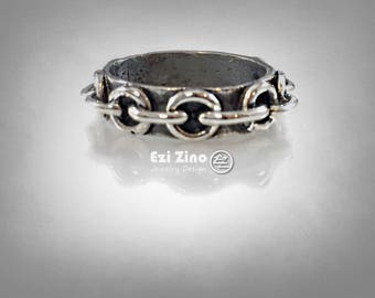 Loops Chain band  ring sterling silver 925 BY EZI ZINO
