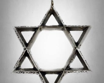 Ezi Zino 3d Star of David Decorated Judaica Pendant Sterling Silver 925