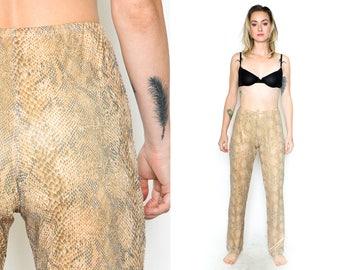 SNAKEPRINT ANIMAL PANTS. 90's Vintage Grunge Sheer Mesh Wetlook Pants. Size Small-Medium. Tan Grey White. Disco Mod Pants. High Waist