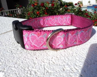 "Sale Princess Heart 3/4"" or 1"" width Quick Release buckle collar adjustable - upgrade to martingale - state dogs neck measurement"