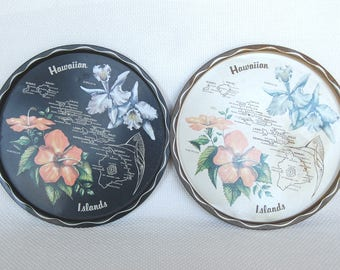 Set of 2 Vintage Metal Hawaiian Serving Trays 11 Inch Trays Hawaii Souvenir Trays with Orchids and Hibiscus Flowers