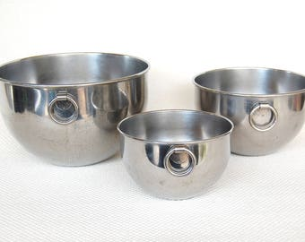 Set of 3 Vintage Double Circle Revere Ware Stainless Steel Mixing Bowls with Round Ring Handles Older Heavier Version