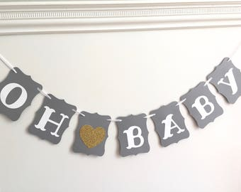 OH BABY banner, gray and gold, baby shower banner, pregnancy announcement, nursery garland, gold glitter heart