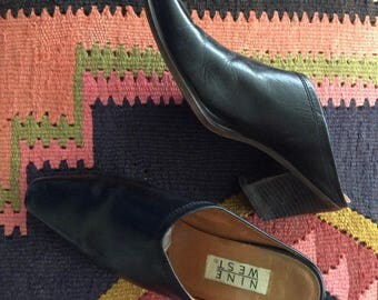 1980's Heeled Black Leather Mules Size 8 Slip On Boots by Maeberry Vintage
