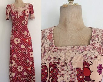 30% OFF 1970's Slinky Nylon Floral Print Maxi Dress Size XS Small by Maeberry Vintage