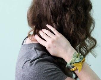 Brilliant gold mermaid mystery braid wrap bracelet- beach summer accessory