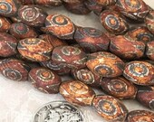 "8mm x 12mm Tibetan dZi Agate Heaven Eye Matte Aged Oval Gemstone Beads - Earthy Rustic Bohemian Mala - 15.5"" Strand - Central Coast Charms"