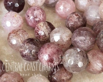 Strawberry Quartz Round Faceted Beads - 12mm Pink Red Semi Precious Gemstone  - Bohemian Glam Mala Healing Chakra - Central Coast Charms
