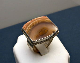 Banded Agate Ring With Sterling Silver